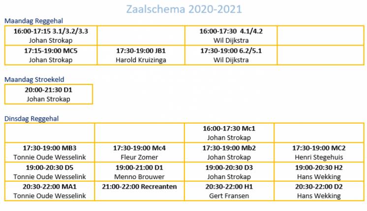 Foto bij Trainingschema 2020-2021