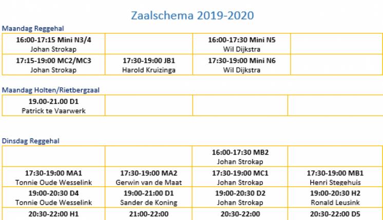 Foto bij Trainingschema 2021-2022 vanaf 23 augustus